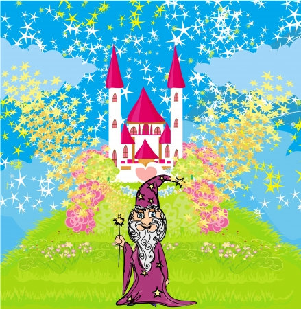 highness: wizard uses magic in front of fairy-tale castle