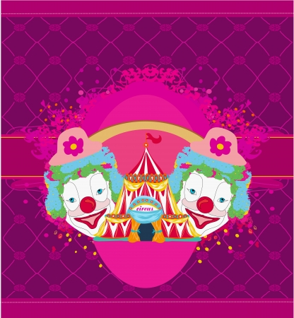 Circus and clowns abstract funny card Vector