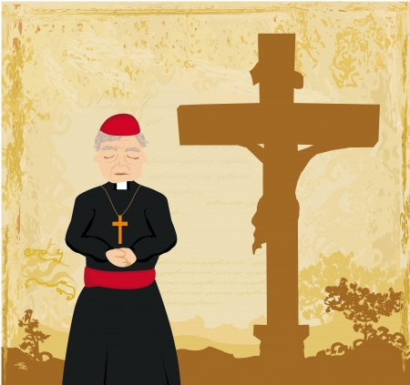 priest prays by the cross, grunge background  Vector