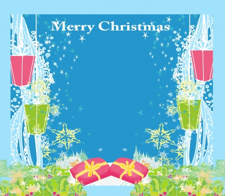 Abstract Christmas card ,star, gifts, snow Vector