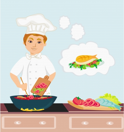 Cheerful chef cooks in the kitchen  Stock Vector - 23703139
