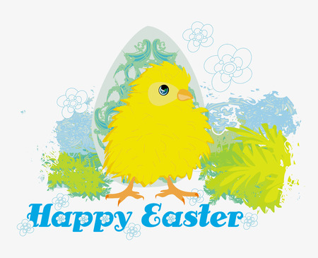 Cute Easter chick cartoon character,Happy Easter Card. Vettoriali