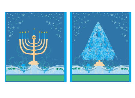 judaica: Pair of Happy Holidays! cards with Christmas tree and Channuka candles