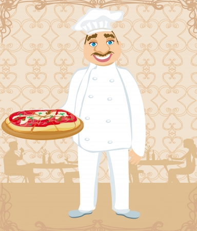 funny chef serves pizza in a restaurant Vector