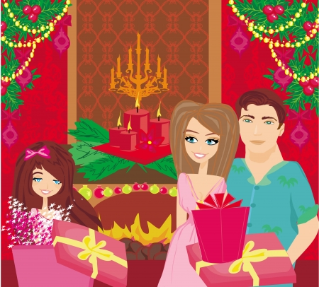 Family Christmas at home,happy girl opens the gift Stock Vector - 23703144