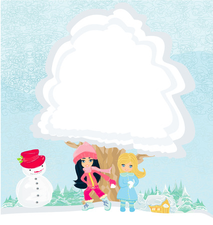 girls are playing in a winter day Vector