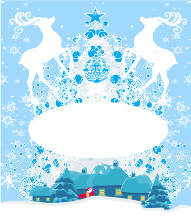 Abstract Christmas frame with reindeer Vector