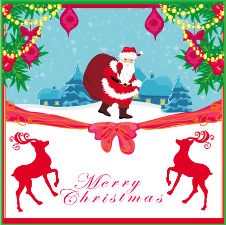vector christmas holiday background with santa claus and reindeer  Vector