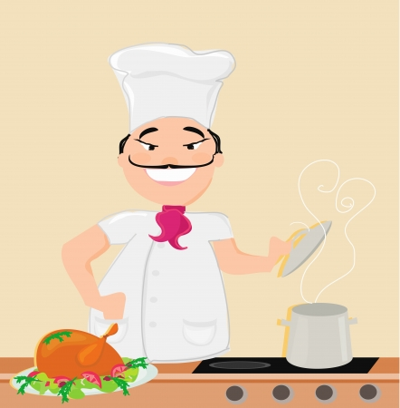 smiling chef cooks soup Vector