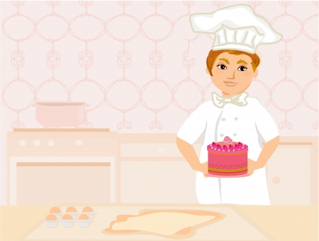 serves: chef serves cake Illustration