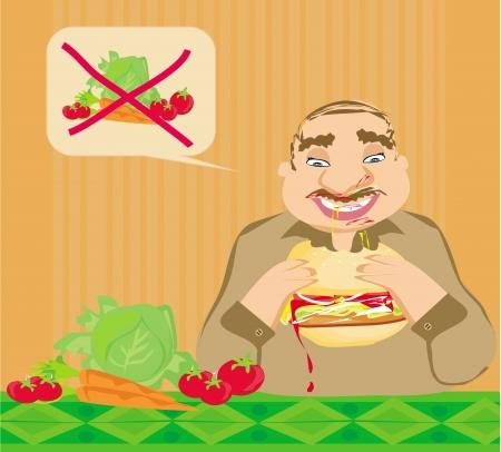 変な男を食べるハンバーガー