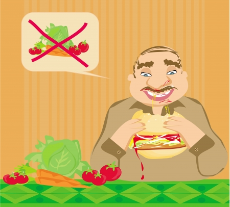 impatient: Homme dr�le de manger des hamburgers