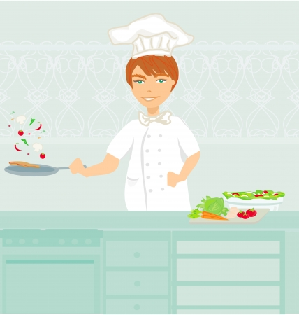 Cheerful chef cooks in the kitchen  Stock Vector - 23794384