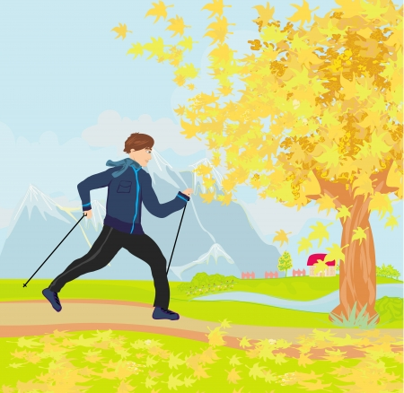 Nordic walking - active man exercising outdoor  Vector