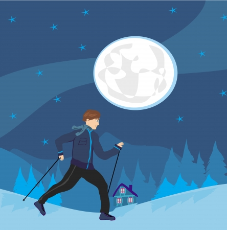 moon walker: Nordic walking Man exercising at night Illustration