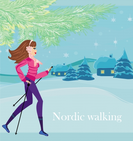 Nordic walking - active woman exercising in winter Vector