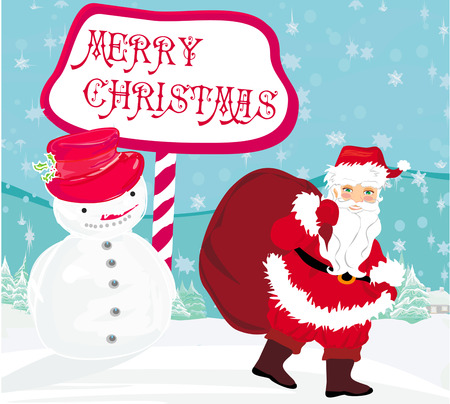 santa claus with a bag of gifts and smiling snowman Vector
