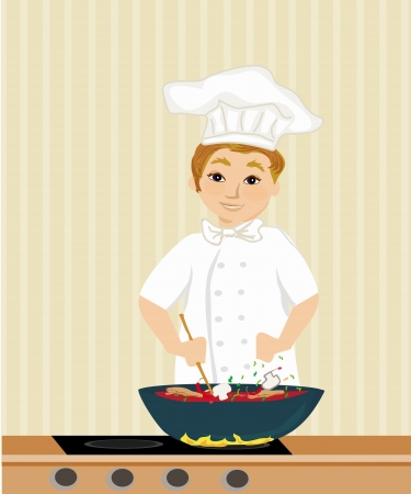 Cheerful chef cooks in the kitchen Stock Vector - 23864280