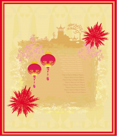 Chinese New Year card - Traditional lanterns,fireworks and Asian buildings  Vector