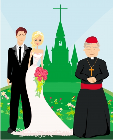 life event: wedding couple and the priest in front of a church