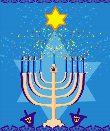 hannukah: Vector illustration of hanukkah menorah abstract card  Illustration