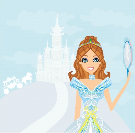 beautiful princess with mirror in her hands  Vector