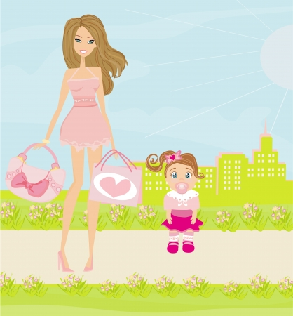 Mother and daughter walking in the park Vector