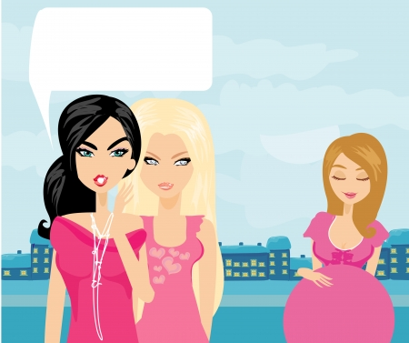 Envious two women gossip about their pregnant friend Stock Vector - 23908833
