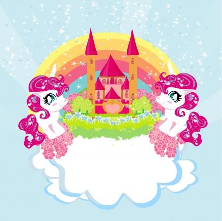 Card with a cute unicorns rainbow and fairy-tale princess castle Vector