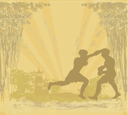 art of eight limbs: Muay Thai (combat martial art from Thailand) - Kickboxing, grunge background
