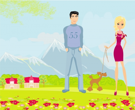 couple on a walk with the dog Vector