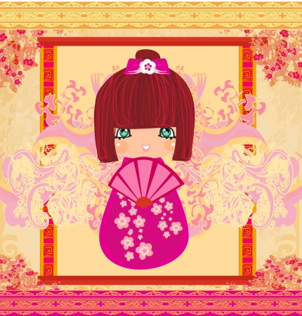 Kokeshi doll cartoon character , beautiful abstract card  Vector