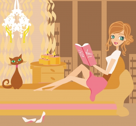 woman on couch: Illustration of a Girl Reading a book  Illustration