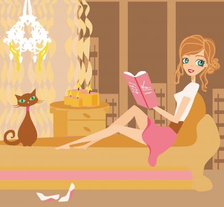 mujer elegante: Ilustraci�n de una ni�a leyendo un libro Vectores