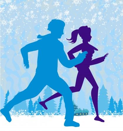 muffs: coppia jogging in inverno Vettoriali