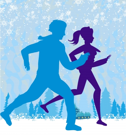 couple jogging in winter  Vector