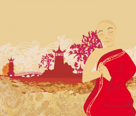 monk prays outdoors Vector
