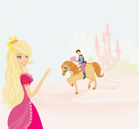 popular tale: Prince riding a horse to the princess Illustration