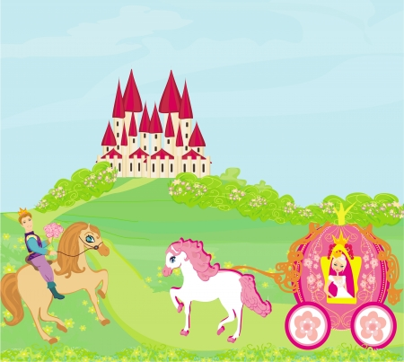 Beautiful princess in a carriage, Prince on horseback and fairy-tale castle Illustration