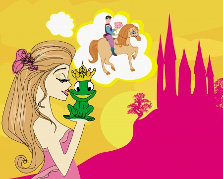 girl dreaming of a prince on horse Vector