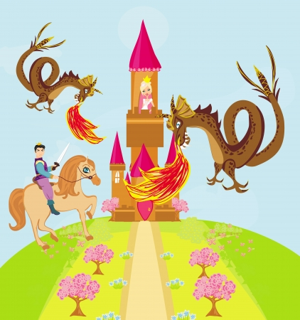 turret: Two dragons attacking the princess castle