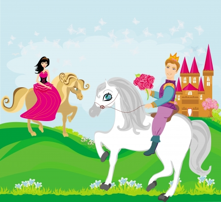 popular tale: prince and princess on their horses