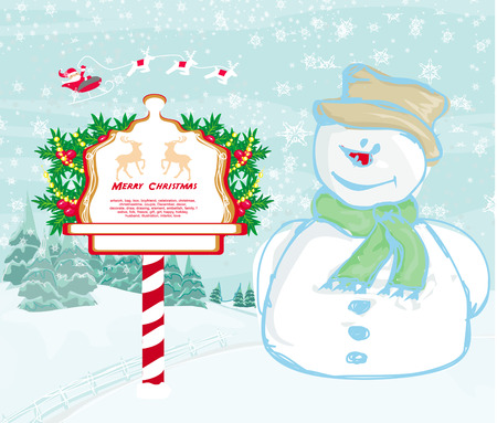 santa claus and smiling snowman  Vector