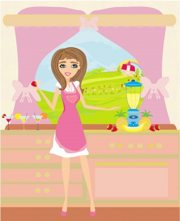 girl preparing fruit juice Vector