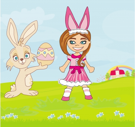 girl in bunny costume and sweet Easter Bunny Vector