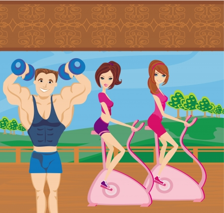 a group of people exercising in the gym Vector