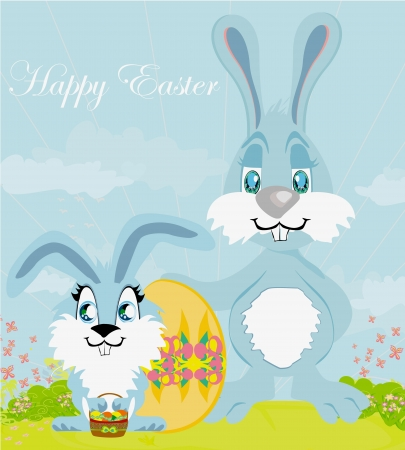 Greeting Card with Easter rabbits family Vector
