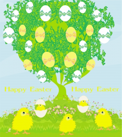 cute chickens and Easter tree Stock Vector - 24124500