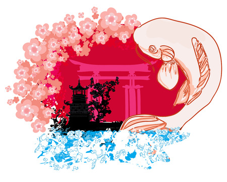 coy fish:  japanese koi and ancient building background