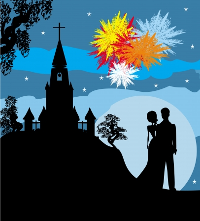 revelry: Bridal couple stand sorrounding by fireworks  Stock Photo